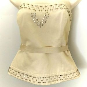 Silver studded cream strapless camisole.